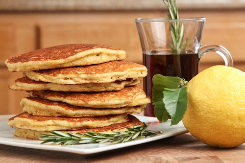 The Gluten Free Ratio Rally – Quinoa Cornmeal Lemon Honey Pancakes with Rosemary infused Maple Syrup