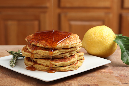 Quinoa Cornmeal Lemon Honey Pancakes with Rosemary infused Maple Syrup