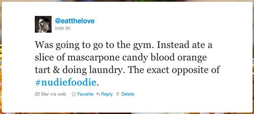 Nudie Foodie Tweet