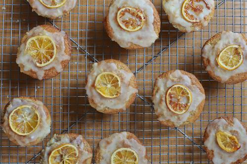 Gluten Free Glazed Meyer lemon Muffins filled with Slow Roasted Balsamic Red Wine Strawberry Jam