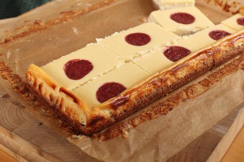Lemon Honey Strawberry Cheesecake Bars