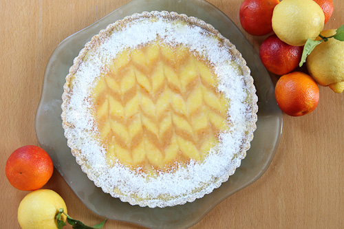 Ginger Lemon — Bourbon Blood Orange Tart With Cardamom Almond Crust