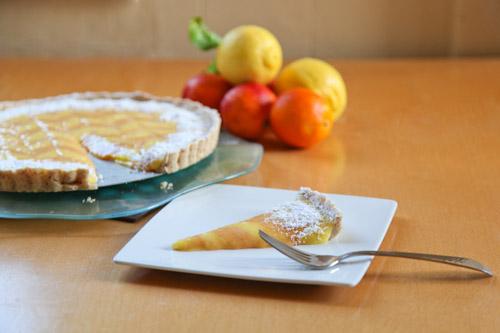 Lemon Ginger Bourbon Blood Orange Tart with Almond Cardamom Crust