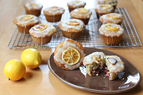 Gluten Free Glazed Meyer lemon Muffins filled with Slow Roasted Balsamic Red Wine Strawberry Jam