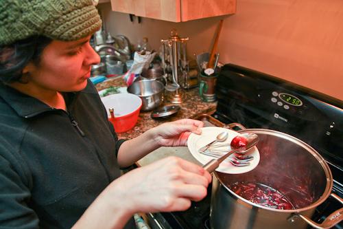 Shila Testing the Blood Orange Strawberry Marmalade