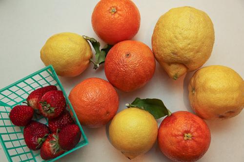 Local Seasonal Fruit - strawberries, blood oranges, lemons
