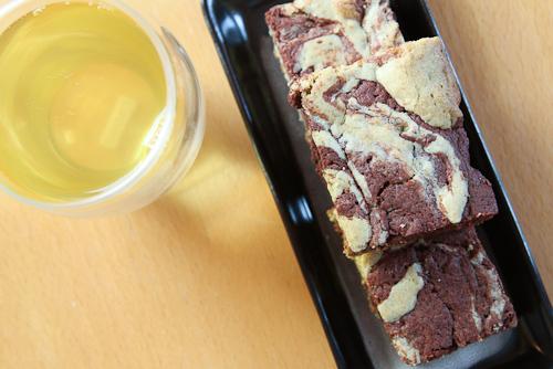 Marbled white and dark chocolate genmaicha brownies