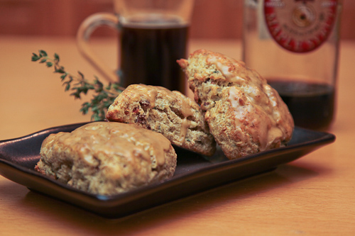 Green Garlic, Bacon and Thyme Scones with White Pepper Maple Glaze