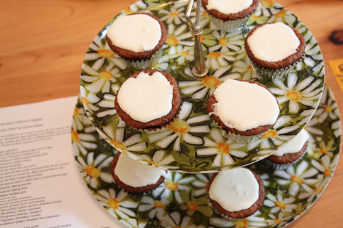Carrot Cupcakes with yogurt frosting