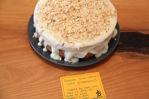 banana sourcream cake and hazelnuts