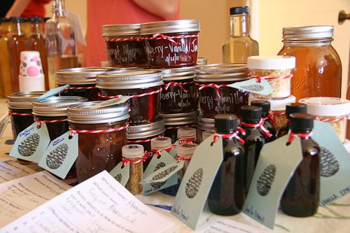 An assortment of jams, extracts and pollen jpg