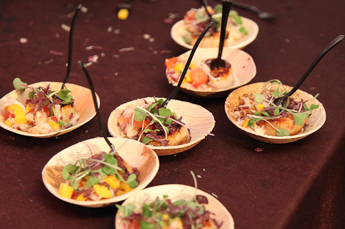 Seared scallops with microgreens at Pebble Beach Food and Wine. jpg
