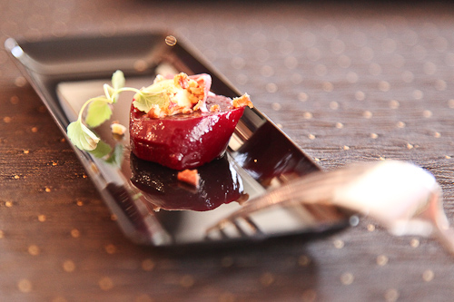 Roasted ruby red beets with microgreens at Pebble Beach Food and Wine. jpg