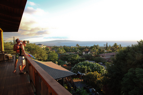 The stunning view from the deck of our host's house for 4th of July.