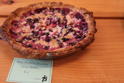 Peach, Nectarine & Blueberry Creme Fraiche Pie jpg