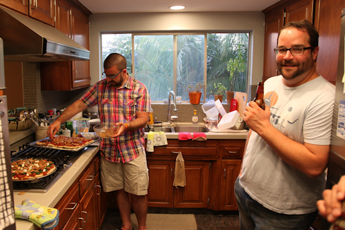 AJ making pizza, Bryan hanging out. jpg