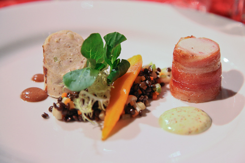 Rabbit loin wrapped in bacon and rabbit sausage from The Farmhouse Inn. jpg