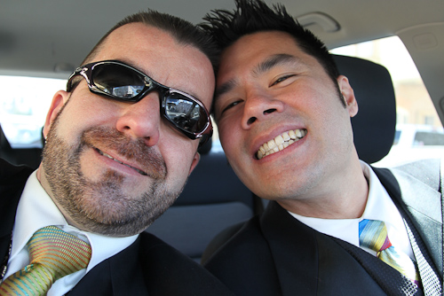 AJ and Irvin on the way to the Meals on Wheels Gala 2011 event. jpg
