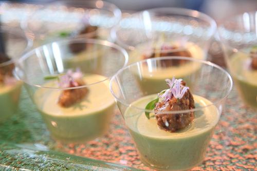 Navio Restaurant at the Ritz Carlton, Half Moon Bay serving up English Pea Panna Cotta. jpg