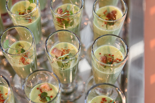 Chilled Asparagus Vichyssoise shooter from the Dining Room at Ahwahnee Hotel. jpg