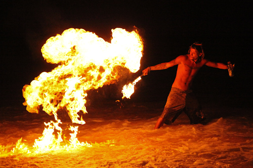 Playing with Fire on Little Beach jpg