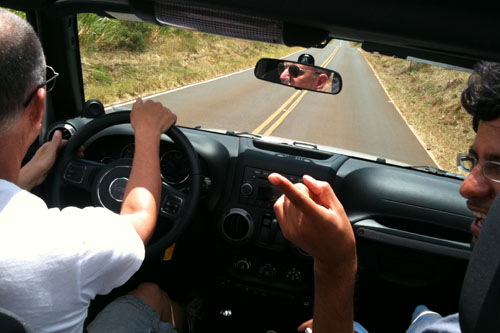 Robert and Jorge Driving as we visit Up Country in Maui.