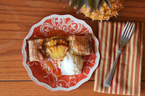 Pineapple Galette with Vanilla Bean Ice Cream and Caramel Rum Sauce jpg