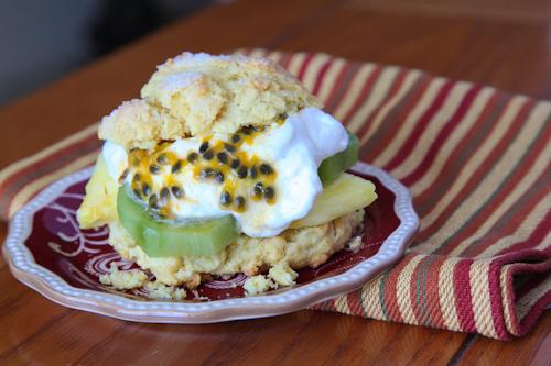 Tropical Cornmeal Shortcake with Kiwis, Pineapple and Liliko'i (Passion Fruit)