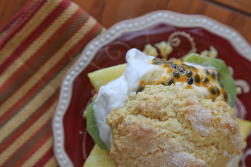 Tropical Cornmeal Shortcake with Kiwi, Pineapple and Liliko'i (Passion Fruit)