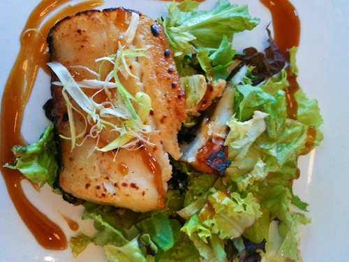 The miso teriyaki glazed butterfish special on a bed of local greens. jpg