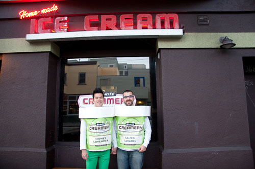 AJ and I dressed up as Ice Cream Cartons from BiRite Creamery. Note my flavor is Honey Lavender