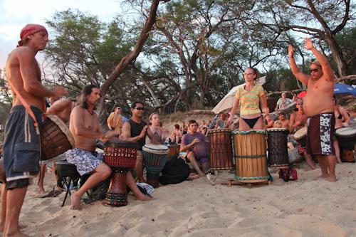 Drum circle on Little Beach jpg