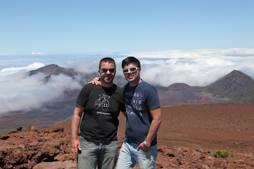 And a single photo of us back at the top, with the volcano park in the back. jpg