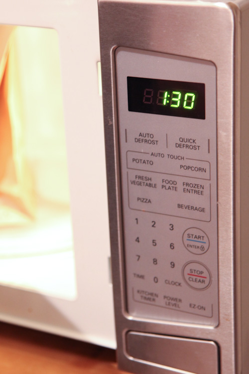 turn the microwave on for 1 minute and 30 seconds on high