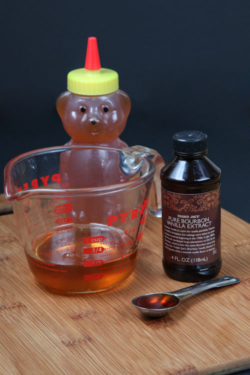 measure out 1/2 cup of honey and 1 teaspoon of vanilla
