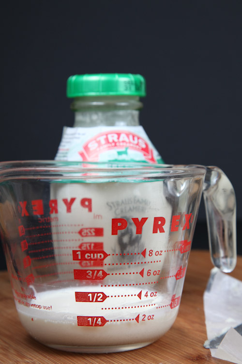 Use a glass measuring cup to measure 1/4 cup of heavy whipping cream