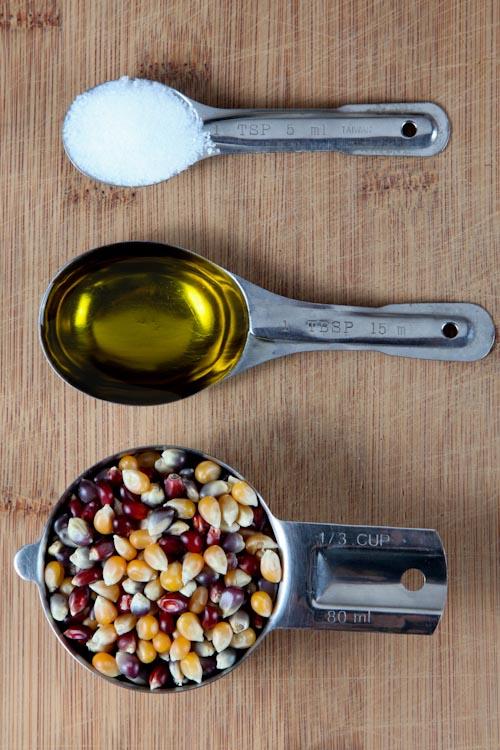 1/3 cup popcorn, 1 tablespoon olive oil, 1 teaspoon sea salt