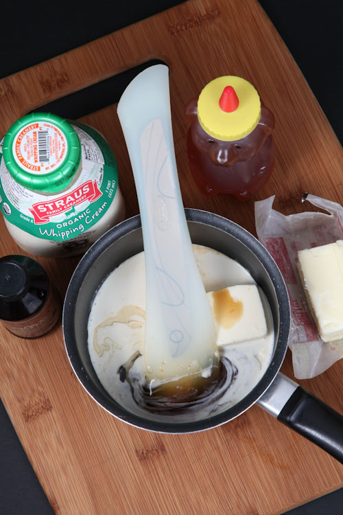 Add the honey, vanilla, cream and butter to a small saucepan