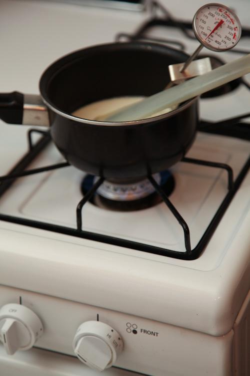 place saucepan on stove over medium high heat