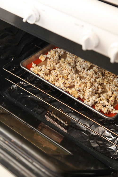 Place the popcorn in the pre-heated oven