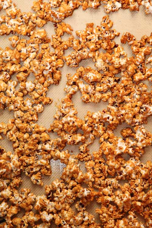Take the popcorn out of the oven and it should be golden brown.
