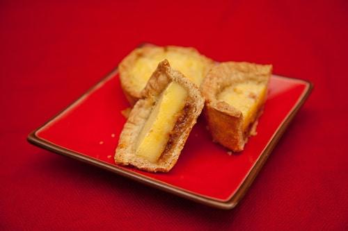 Caramel Egg Custard Tart, a twist on the classic Chinese dim sum treat