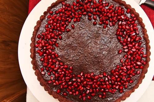 Pomegranate Dark Chocolate Tart