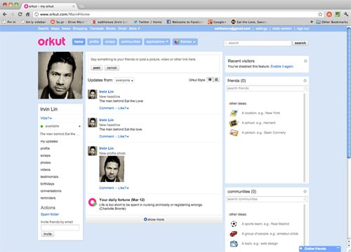 Irvin-Orkut-homepage