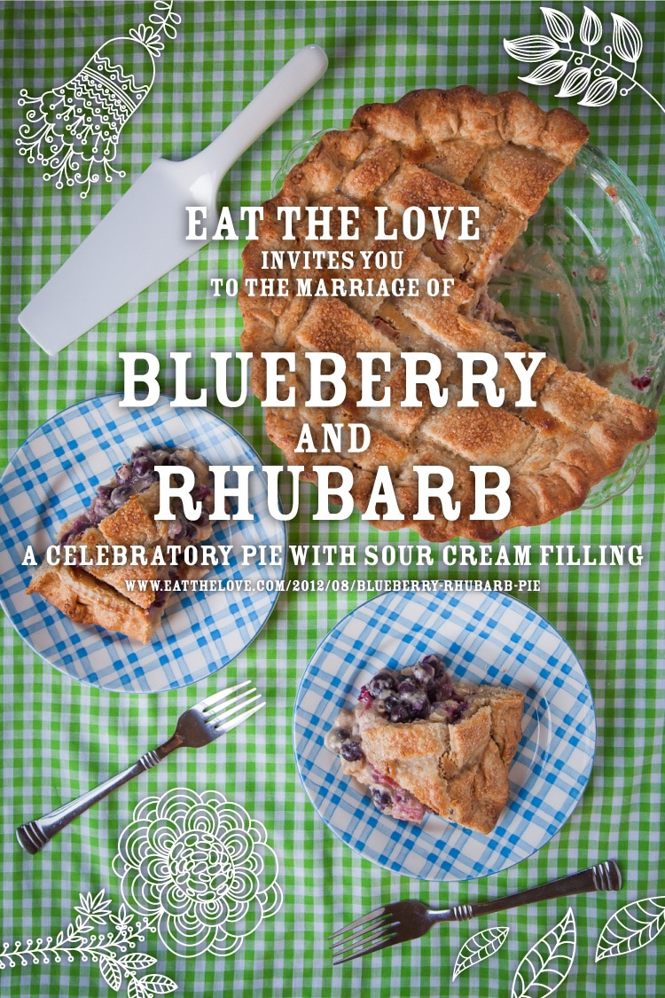 Blueberry Rhubarb Sour Cream Pie and Jenny & Cary's Wedding on a Farm