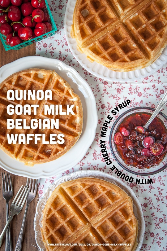 Quinoa Goat Milk Belgian Waffles with Double Cherry Maple Syrup by Irvin Lin of Eat the Love