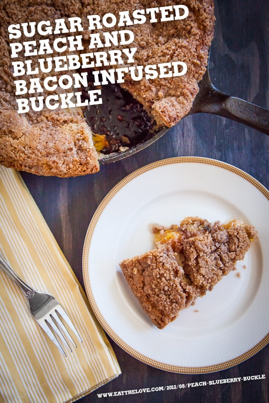 Sugar Roasted Peach and Blueberry Bacon Infused Buckle by Irvin Lin of Eat The Love