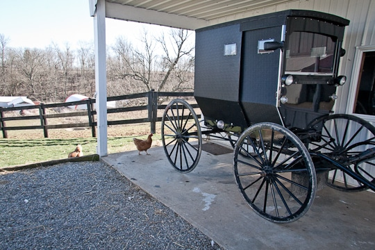 Amish Buggy Parked on farm in Ohio
