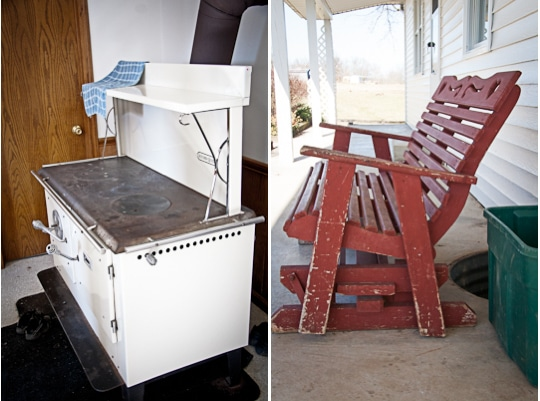 Amish wood fired stove and Rocking Bench in Ohio