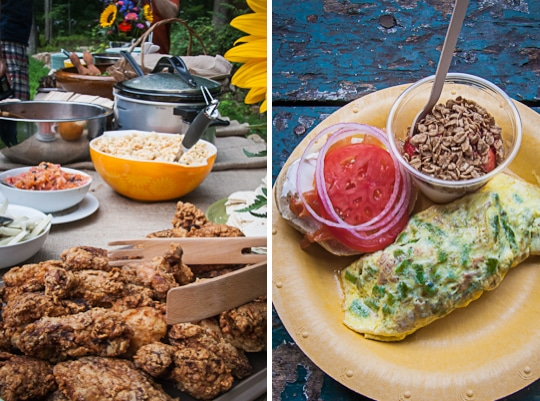 Big Summer Potluck with a dinner buffet featuring Fried Chicken and a Breakfast buffet with an omelet by Irvin Lin of Eat the Love